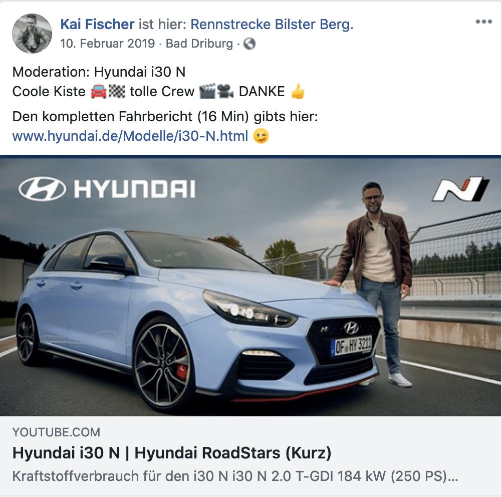 Kai Fischer - Moderator - kaifischer.tv - Hyundai i30 N - Hyundai RoadStars - Youtube.com